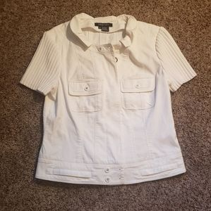 Etcetera white denim zip jacket short sleeve 8